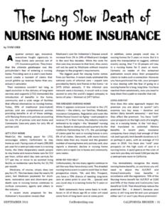 The Long Slow Death of Nursing Home Insurance (California Broker September 2015)